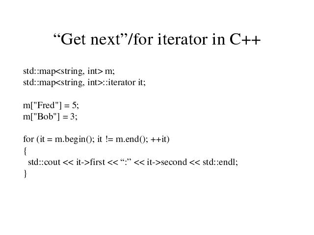 Get next iterator in C++ Map Iterator on